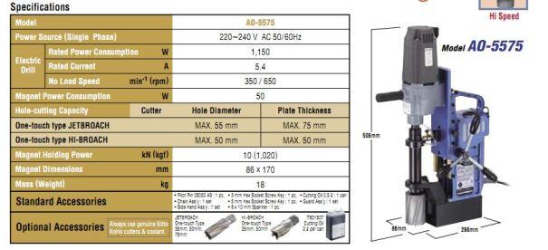 AO-5575 Mahendra Tools NITTO KOHKI India specs